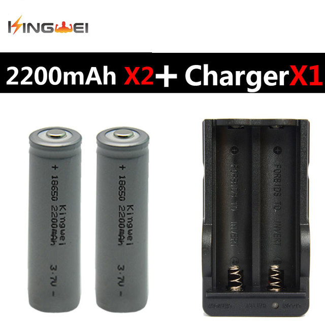 2pcs Kingwei 18650 Batteries Gray 18650 2200mah 3 7v Rechargeable