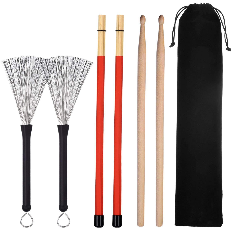 1 Pair 5A Drum Sticks  Wood Drumsticks Set 1 Pair Drum Wire Brushes Drum Stick Brush And 1 Pair Rods Drum Brushes
