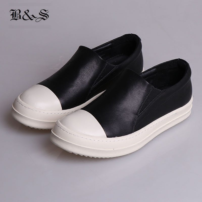 Black& Street 2018 Owen Slip On Genuine Leather Flat Causal Shoes trainer Rock Comfortable Little White Shoes