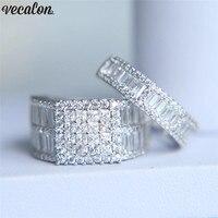 Vecalon любителей роскоши набор колец 5A Циркон Cz 925 пробы серебро Обручение обручальное кольцо кольца для wo Для мужчин палец ювелирные изделия
