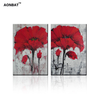 Big Red Flower Oil Painting 100 Hand Painted Art Picture On Canvas Room Decoration Handmade Modern