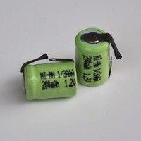 2-10 шт. 200 В в 1/3AAA Ni-MH перезаряжаемая батарея 1/3 мАч 1,2 AAA nimh ячейка с сварочными вкладками для солнечного света