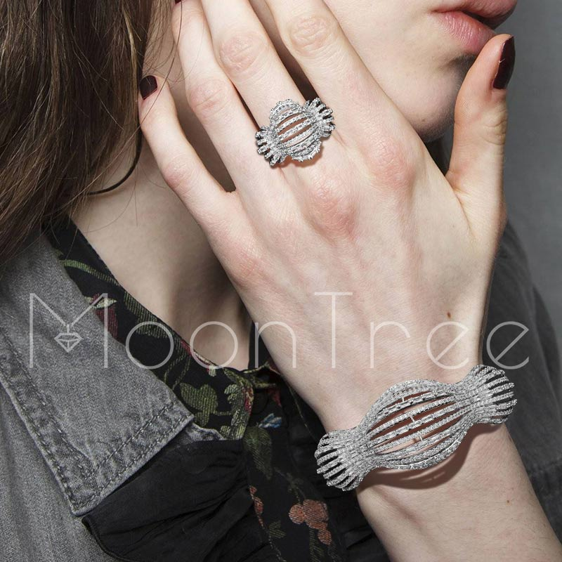 MoonTree Hollow Luxury Lines Super AAA Cubic Zirconia Jewelry Sets Women Lovers Engagement  Party Gifts Hand Accessories