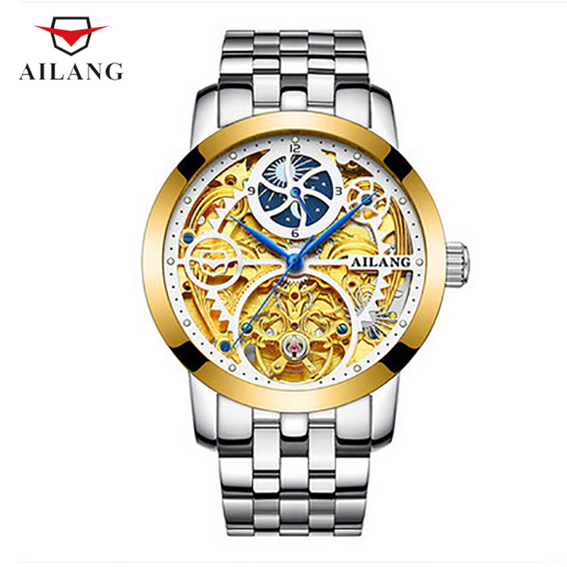 цена на AILANG Multi-Color Elegant Mechanical Wristwatches Distinguished Water 30M Water Resistant Moon Phase Vintage Calendar A054