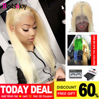 Bestsojoy 613 Perruque Lace Frontal Cheveux Humain Blonde Lace Front Wig Brazilian Virgin Human Hair Wig 250 Density Closure Wig