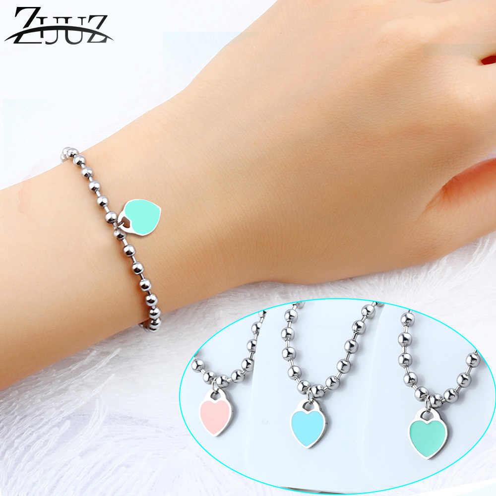 ZUUZ heart bracelets bangle chain link beads jewelry accessories silver for women female fashion charms friendship braclet femme