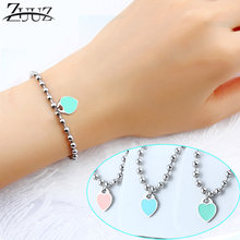 ZUUZ heart bracelets bangle chain link beads jewelry accessories silver for women female fashion charms friendship braclet femme(China)