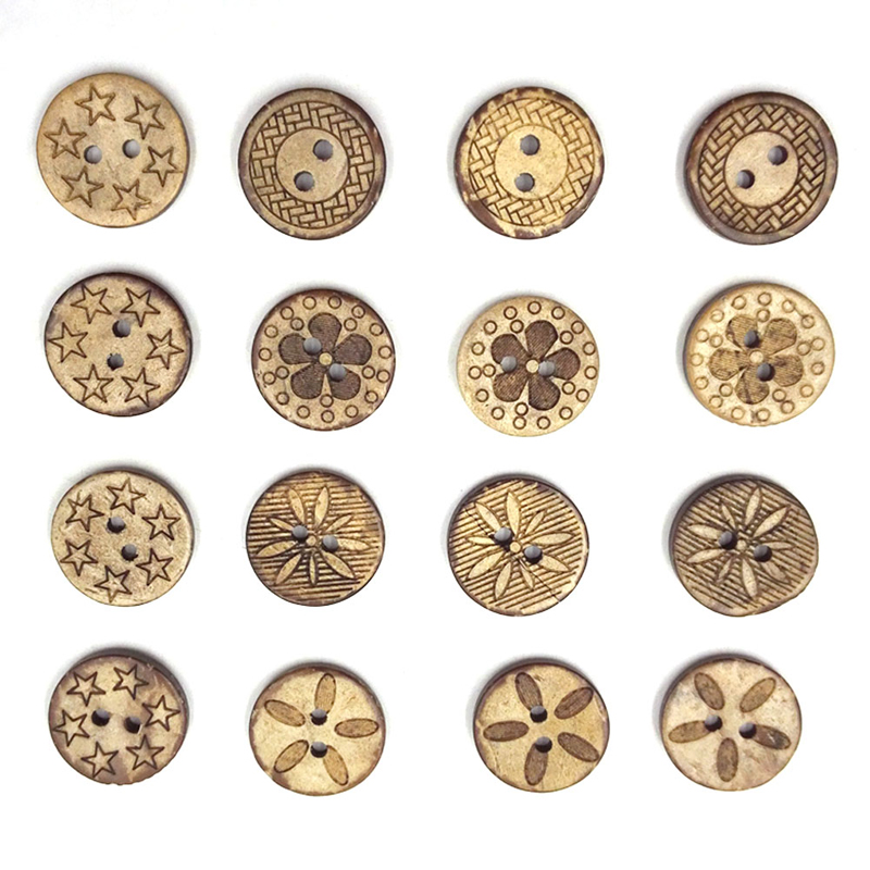 handwerk bekleidung blumen runde 2 löcher nähen mode diy buttons holz