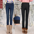 Autumn and winter plus velvet jeans female trousers Slim was thin feet pencil pants stretch pants big yards