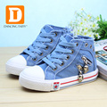 Demin Jeans Boys shoes New 2017 Canvas Kids Shoes Fashion Children Autumn Shoes Zip Rubber Flats High Girls Sneakers