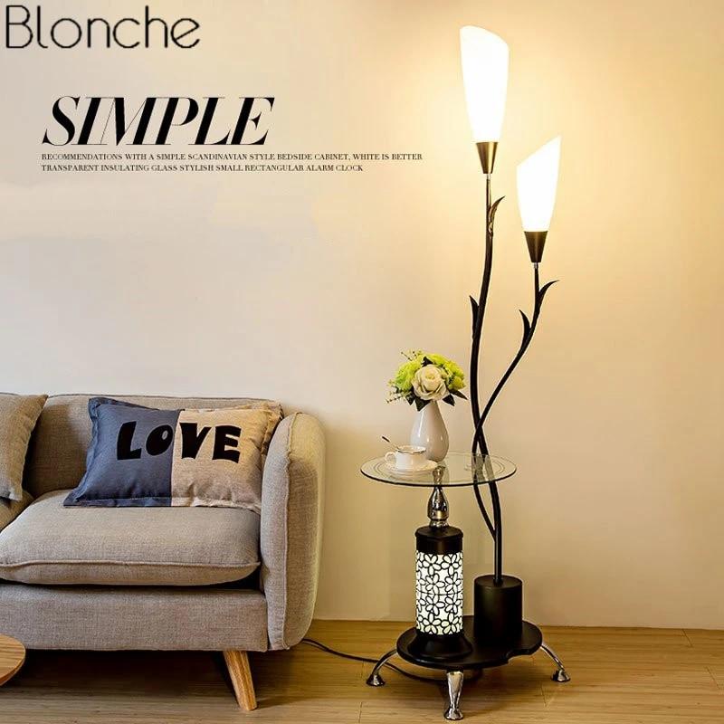modern nordic 2 lights floor lamp tea table standing light living room bedroom led fixtures creative bedside lamp home lighting