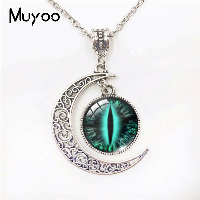Colorful Cats Eyes Dragon Eyes Design Moon Pendants Handmade Vintage Cat Eyes Glass Dome Moon Necklace