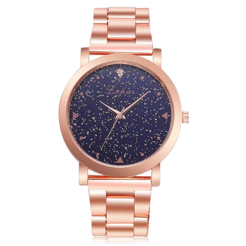 Lvpai Women Dress Watches Rose Gold Stainless Steel Band Roman Rhineston Creative Quartz Business Wrist Watch Dropshipping büyük rakamlı dijital kol saati