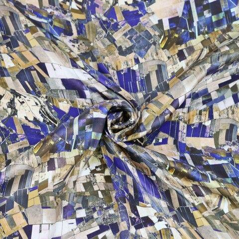 Tecido de Seda Geométrica do Cetim para o Vestido de Vestido de Seda Pura Charmeuse 100cm * 114cm