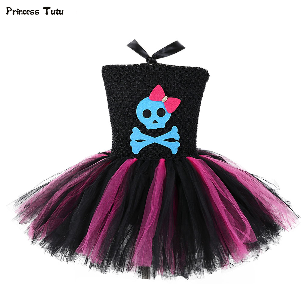 Cute Skull Girls Tutu Dress Black and Hot Pink Fancy Party Dress Children Carnival Halloween Costumes for Kids Girls Tulle Dress