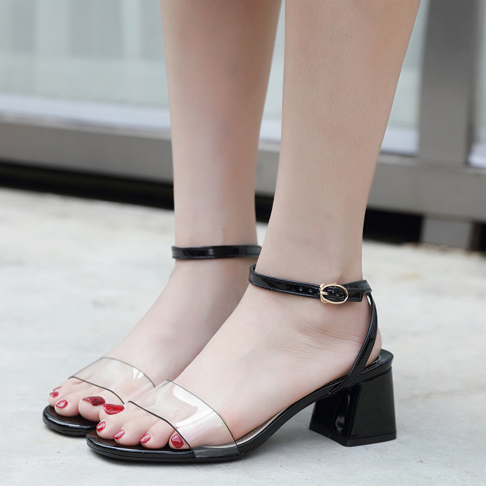 KEBEIORITY Ankle Strap Heels Women Sandals Open Toe Thick High Heel Summer Shoes Black White Party Dress Sandals Office Shoes