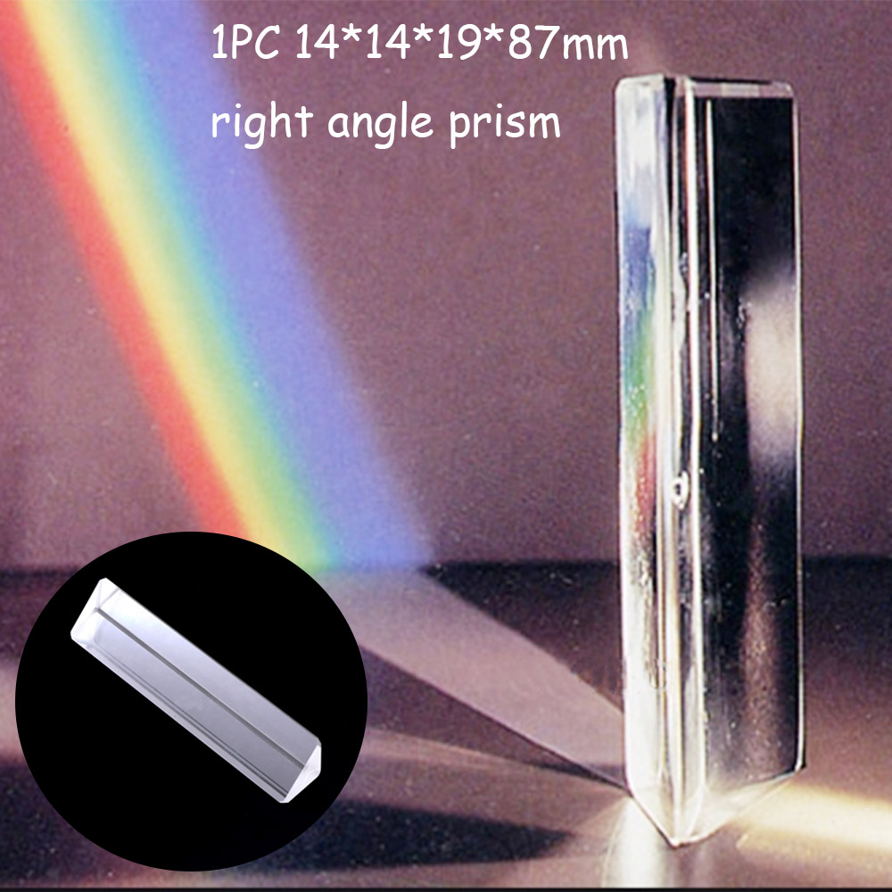 1pc Optical Instruments 14*14*19*87mm Triangular color prism K9 Optical Glass Right Angle Reflecting Triangular Prism GMN