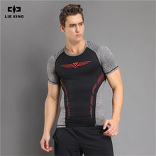 LIE XING Brand Clothing 2017 New Arrival T Shirt Men Bodybuilding Fitness Men's T-Shirts 3 Colors Patchwork