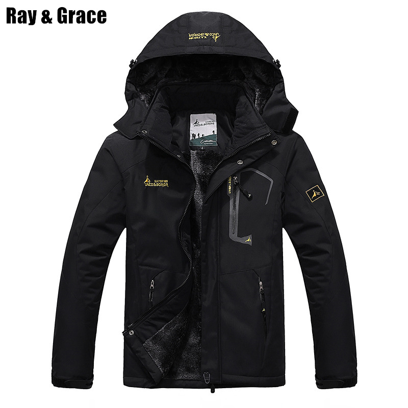 RAY GRACE Winter Jacket Men Outdoor Thick Fleece Thermal Coat Waterproof Hiking Jacket Camping Mountain Climbing Parka Plus Size