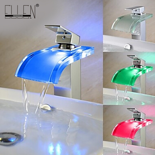 Beau Free Shipping Temperature Controlled Led Basin Faucet Bathroom Glass Spout  Waterfall Vessel Sink Cold And Hot