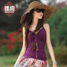 Summer Women Cotton Lycra Elastic Knitted Halterneck Camis T-shirt Sz S M L XL