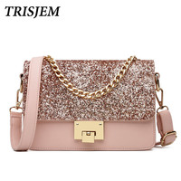 TRIJSEM Brand Sequined Pink Women Messenger Bags 2017 Summer Small Flap Chains Lady Shoulder Bags Luxury