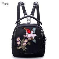 Vintage Women Backpack Oxford School Bag Shopping Bag Dragonfly Bird Floral Embroidery Practical Functional Beach Shoulder Bag