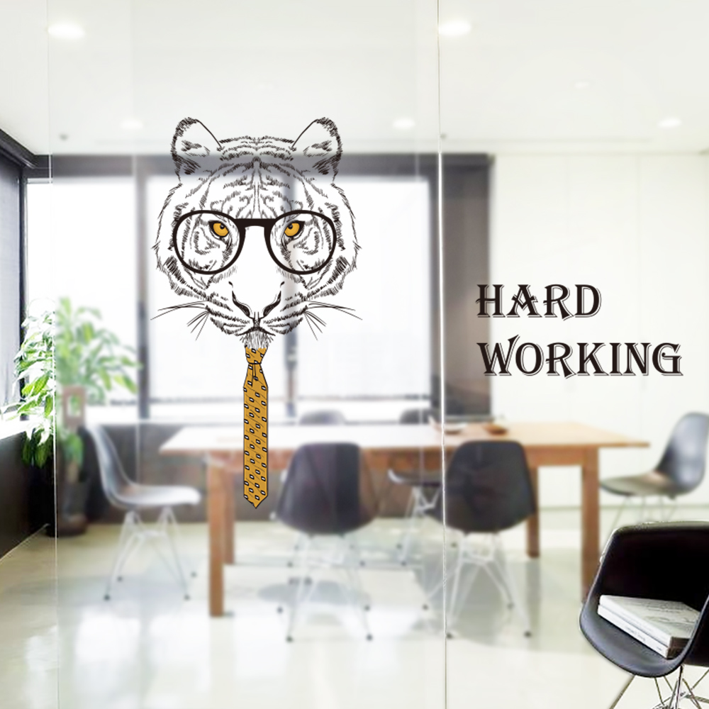 Gentleman tiger Wall Sticker company Decor DIY Removable For office meetingroom Sofa background QTM280-4