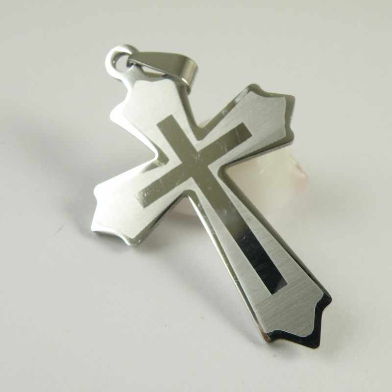 Hot Sale 316l Stainless Steel Cross Pendant Titanium Steel Tag Pendants Wholesale Cross Pendant Jewelry Free Chain