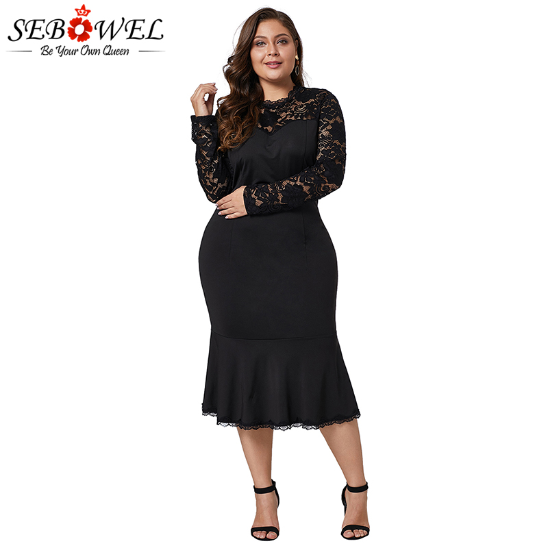 fb3e7a05ff10 SEBOWEL Sexy Black Plus Size Lace Bodycon Dress Women Elegant Long Sleeve  Floral Lace Midi Party