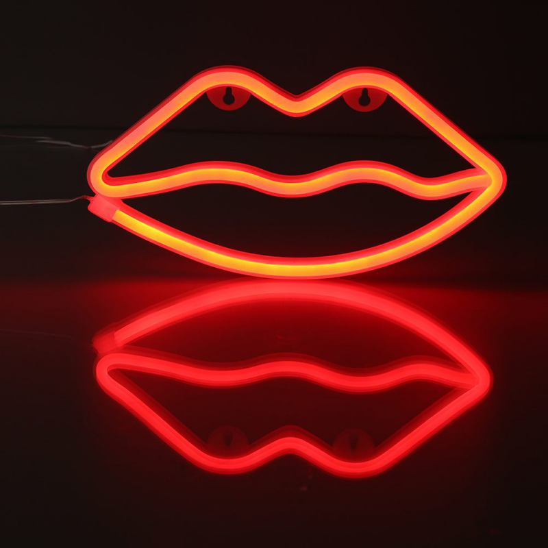 Novelty Glowing Red Lips-shaped LED USB/Battery Operated Table Lamp Club Pub Atmosphere Neon Light