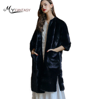 M.Y.FANSTY 2017 Winter Both Sides Can Wear Fur Mink Coat Real Fur Deep Green Causal Coat Finland Import Swan Velvet Mink Coat