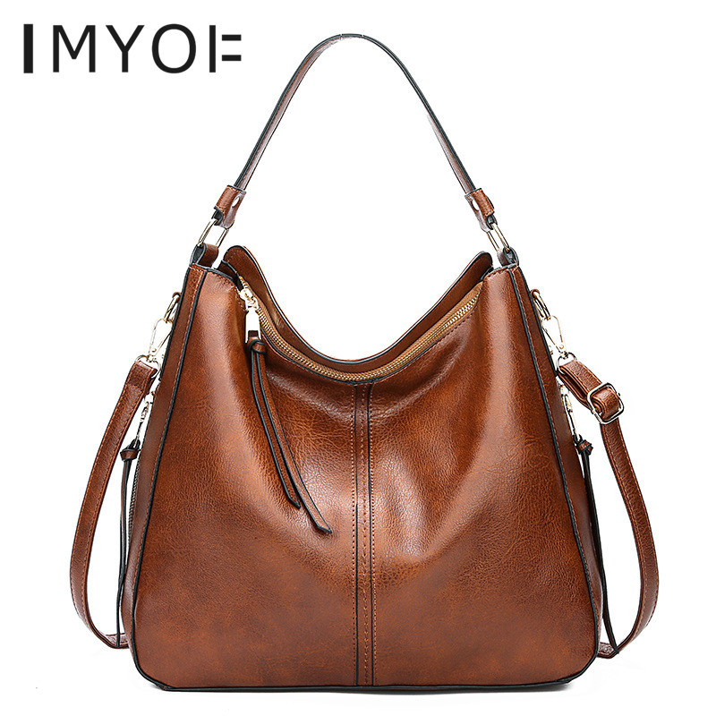 IMYOK New Fashion Simple Genuine Leather Single Shoulder Bags Messenger Tassels Large Capacity Luxury Women Bags Totes Ladies