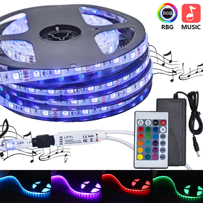 LED Strip Tahan Air RGB 5050 TV Backlight Pesta Penerangan Ambilight Fleksibel Neon Controller Warna Lampu LED Strip 220