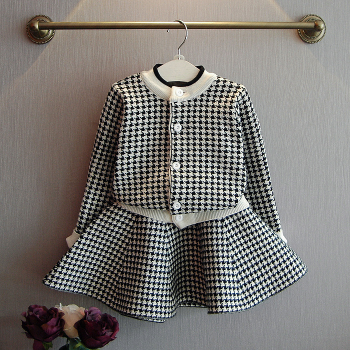 Baby Girls Clothing Sets Plaid Knitting Cardigan Jacket And Skirt Cute Fashion Kids Girl Skirt Clothing Sets New Children Weave More Discounts Surprises