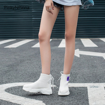 Knit Top Boots | Young Ladies Weaving Ankle Boots Knitting Breathable Fashion Trendy Popular Platform Flat Booties Back Laced Up High Top Shoes