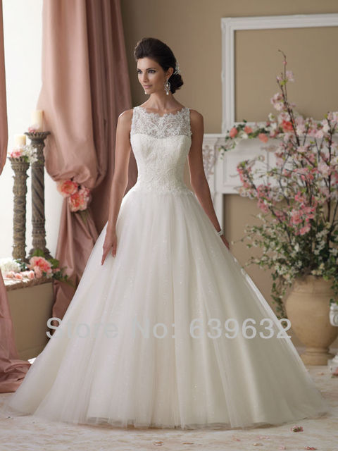 Illusion Lace Neckline And Back Bodice Sleeveless Chantilly Tulle Skirt Ball Gown Wedding Dress