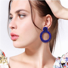 The new bohemian glass bead earrings pendant lady hand crystal ring fashion beautiful 2019 earrings.