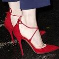 Сексуальная Крест ремни Сандалий Высокой Пятки Гладиатор Сандалии Женщин Ботинки Платья Летом Обувь Женщина большой размер 40