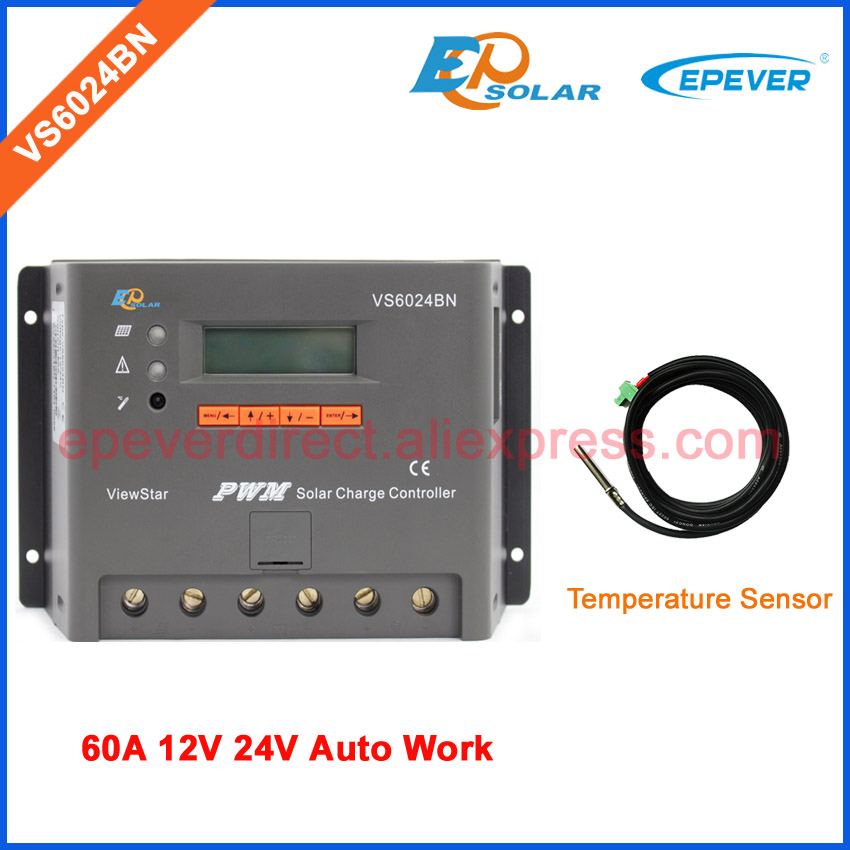 60A 24V solar panels system solar charger controller LCD display screen controller VS6024BN with tempertaure sensor cable60A 24V solar panels system solar charger controller LCD display screen controller VS6024BN with tempertaure sensor cable