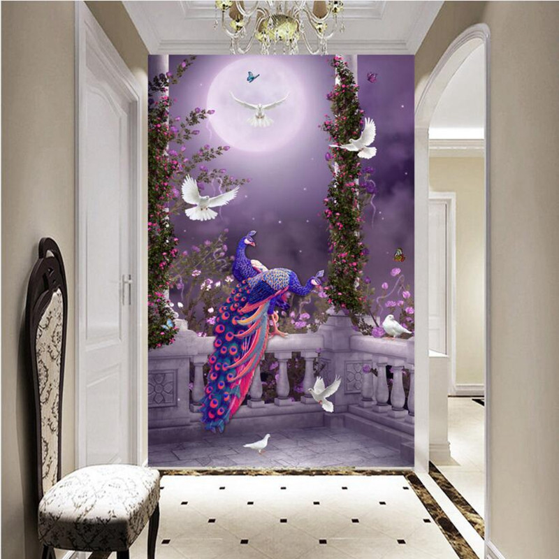 3D Wall Murals Forest Photo Wallpaper 3D Peacock Wall Mural for Living Room Bedroom Hotel Home Decor Wall Sticker 3D Wall Murlal stylish mirkwood design 3d wall sticker for home decor