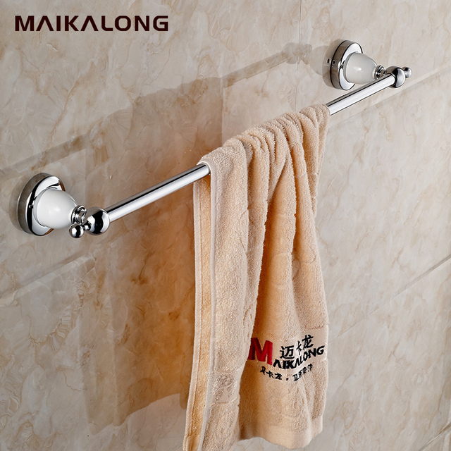 White Porcelain Ceramic Chrome 60cm Single Towel Bar Holder Rack