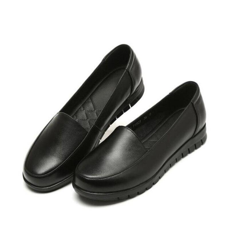 Plats Pour Glissement Tendance 35 D'âge Moyen Femmes 42 Mou 2019 Taille marron Noir Printemps Mocassins Véritable Grande Cuir Chaussures En Fond Simples Cqz4qw5v