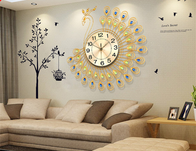 Large Aluminum Plate Peacock Wall Clock European Modern Creative Living Room Watches Bedroom Adornment Quartz Bracket