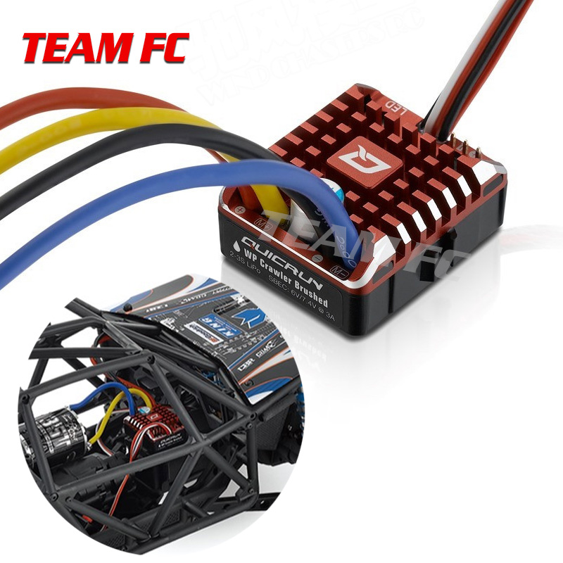 QuicRun WP 1080 Crawler Waterproof Brushed ESC Build-in BEC 2-3S Lipo With LED Programing Card for 1/10 1/8 RC CarS137 image