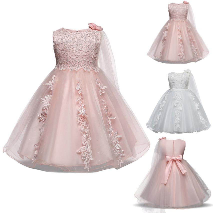MUQGEW Summer childrens clothing Lace Girl Princess Bridesmaid Pageant Tutu Tulle Gown P ...