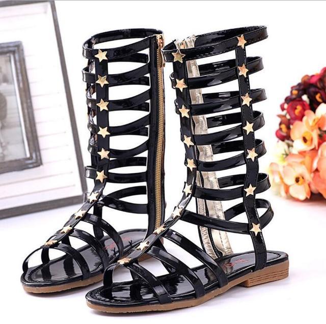 New Kids Summer Children Casual Shoes Child Sandals Girl Child High Cool Boots  Rivet Fashion Cool Cutout Sandals Little Big Kid 7c83a2d7cc4d