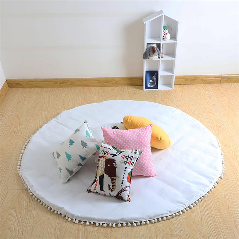 Round White Canvas Pom Pom Padded Baby Play Floor Mat Teepee Tipi Tent Mat Nursery Rug 47