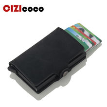 купить 2019 Automatic Credit Card Holder Travel Aluminum Men RFID Wallet Pop Up Blocking Money Case Protection PU Leather Cardholder дешево