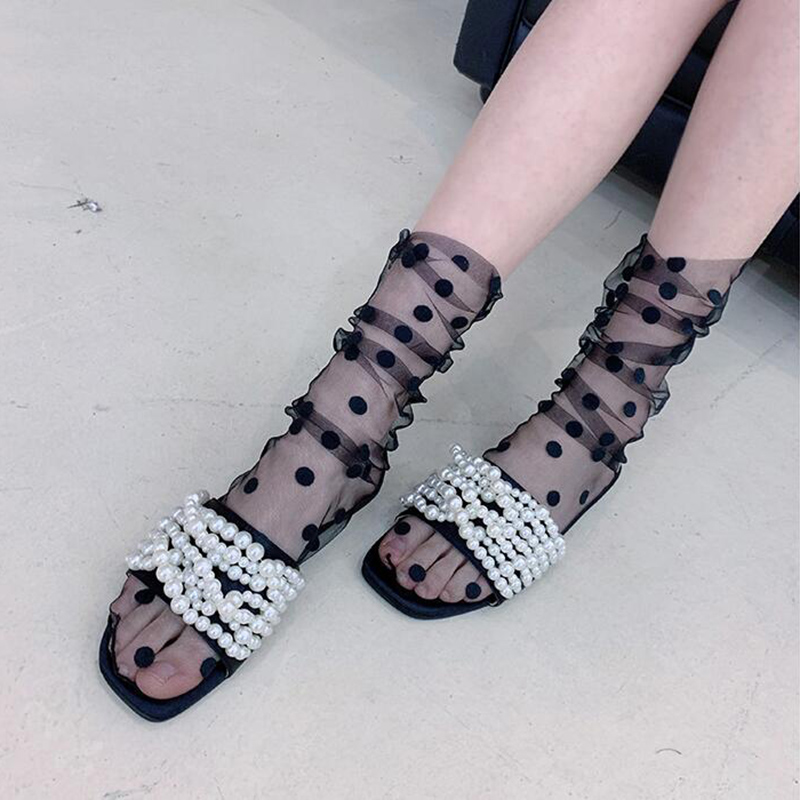 2019 Tulle Transparent Dot   Socks   Women Girls Fashion Breathable Thin   Socks   Long Soft Funny   Socks   Female Summer Hosiery WZ0045